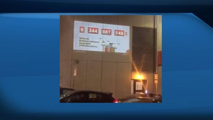 Alberta government brings up pipeline issue with projection prank at Liberals' Christmas party in Ottawa