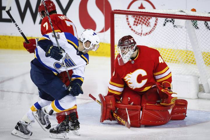 Calgary Flames drop third game as Allen, Blues stymie Flames for 3-1 victory