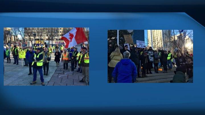 Downtown Edmonton rally against UN, globalism met with counter-protest