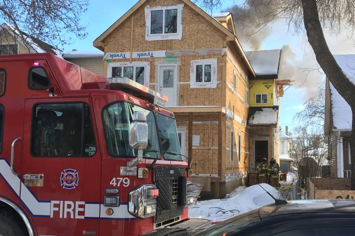Crews respond to fire at under-construction house in central Edmonton