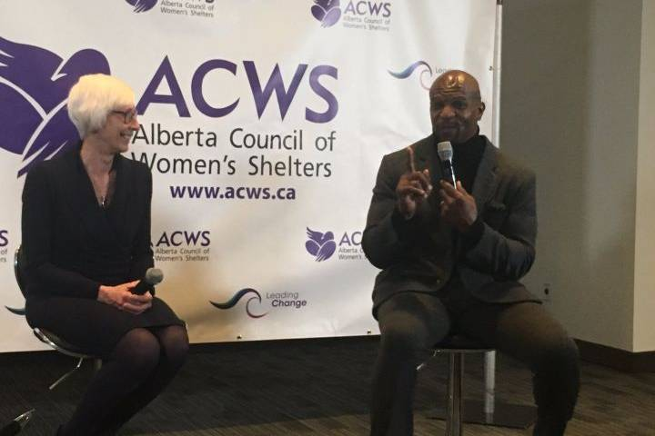 Terry Crews speaks in Edmonton about men's role in preventing violence