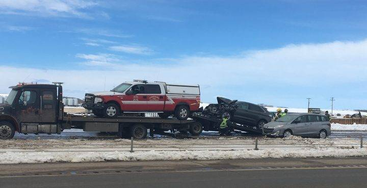 6 people injured, including 2 firefighters, in Highway 2 crash