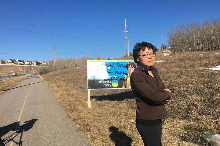Vandalism of Alberta Party candidate's sign 'an act of racism,' condemned by party