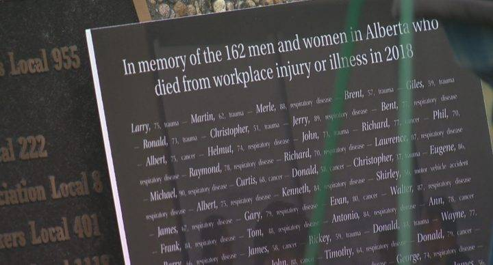 'Today we mourn, but tomorrow we fight': Albertans honour 162 workers who died in 2018