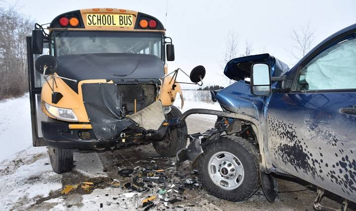 Alberta man charged in January robbery, crash involving pickup and school bus