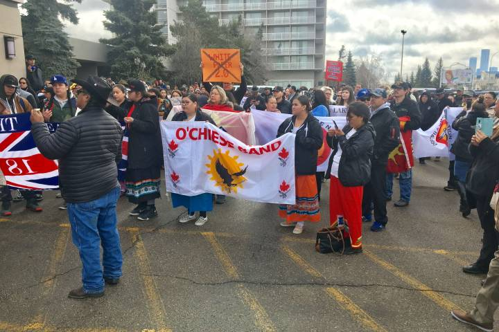 Protesters gather outside Assembly of First Nations meeting in Edmonton