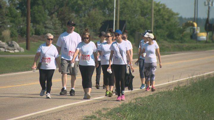 Memorial walk held north of Edmonton to mark 10 years since woman was killed by her partner