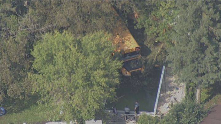No children on school bus that crashed into swimming pool north of Edmonton: RCMP