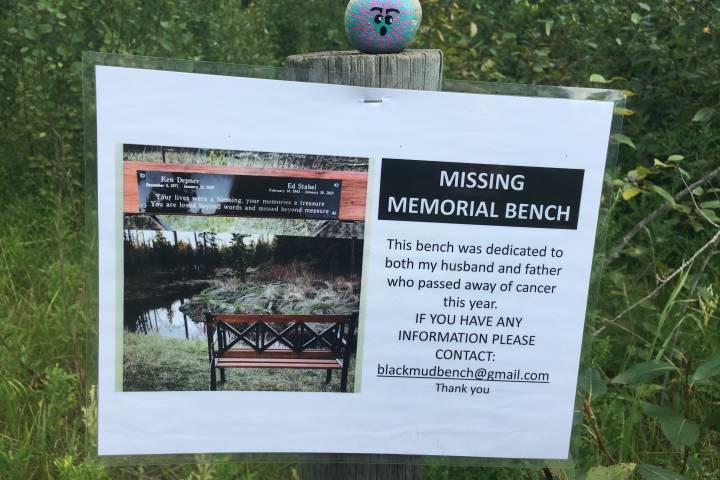 Memorial bench dedicated to 2 late family members stolen in southwest Edmonton