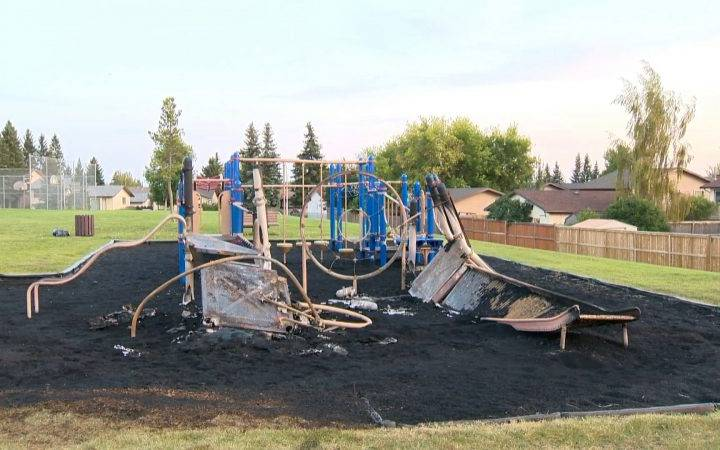 Youth charged with arson after Airdrie playground fire