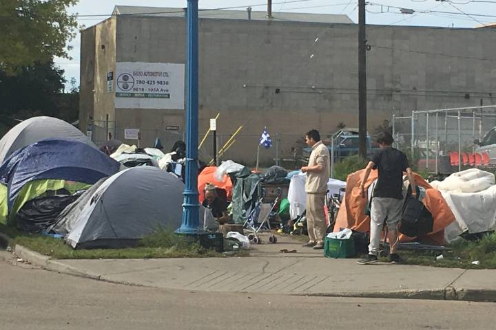 Homeless camps set up in downtown Edmonton raise questions over safe spaces for less fortunate