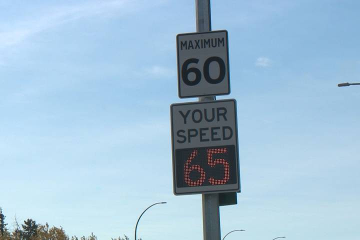 'Too fast. Slow Down': City says Edmonton driver feedback signs are working