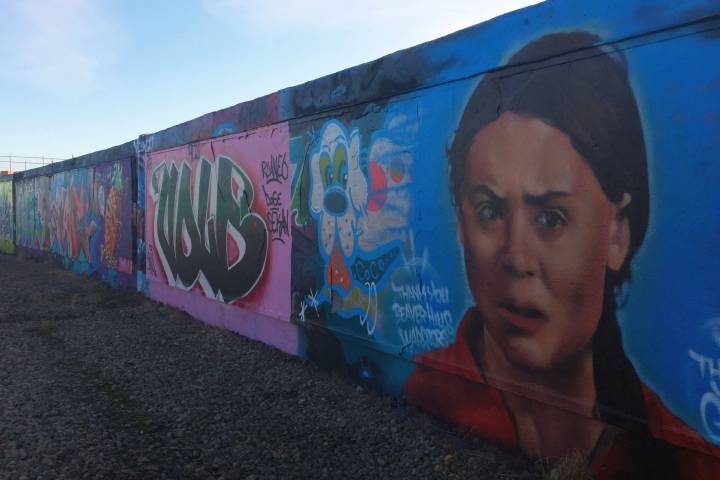 Edmonton street artist creates mural of Greta Thunberg: 'My hope is that it becomes a talking point'