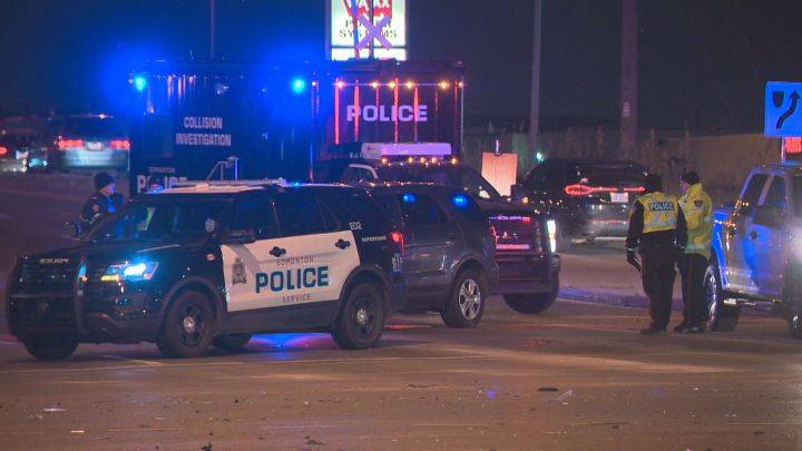Major police scene in south Edmonton after car allegedly runs red light, hits 3 vehicles