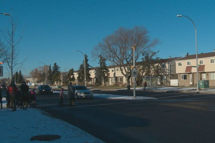 Crosswalk lights installed in northeast Edmonton after push from persistent students