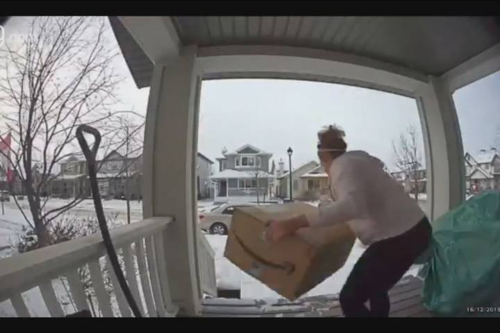 Parcel swiped from Edmonton woman's front porch – and it's captured on camera