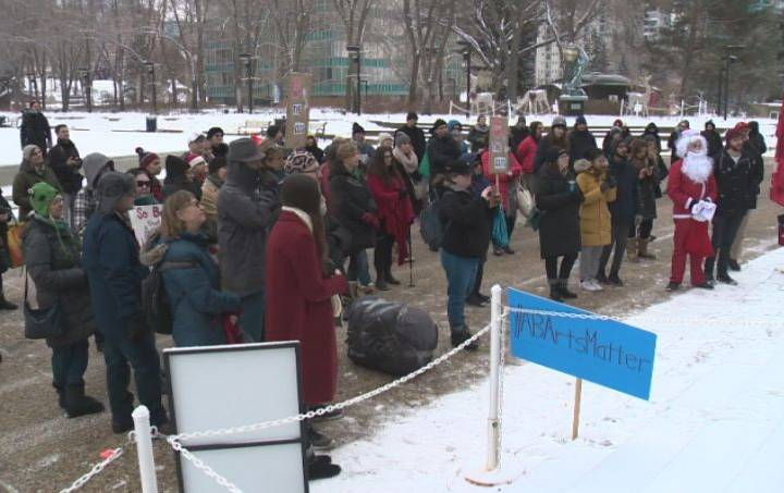 Rally held at Alberta legislature against provincial cuts