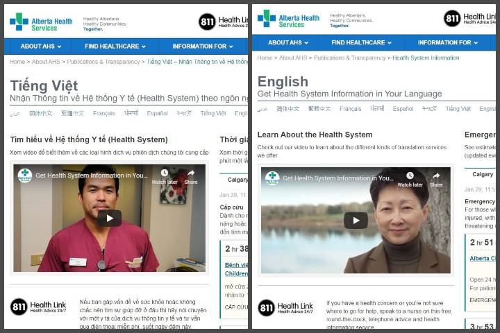 Alberta Health Services offers information in 8 additional languages