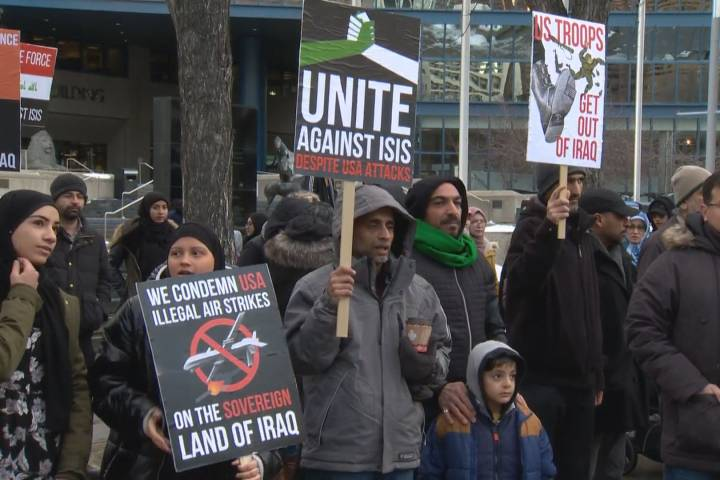 Calgarians protest U.S. decision to kill top Iranian general