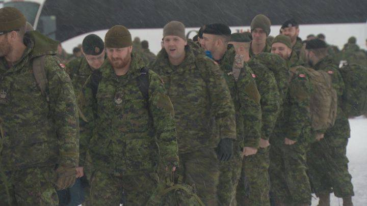 Canadian soldiers leave Edmonton for Latvia to play role in 'deterrence mission' for NATO