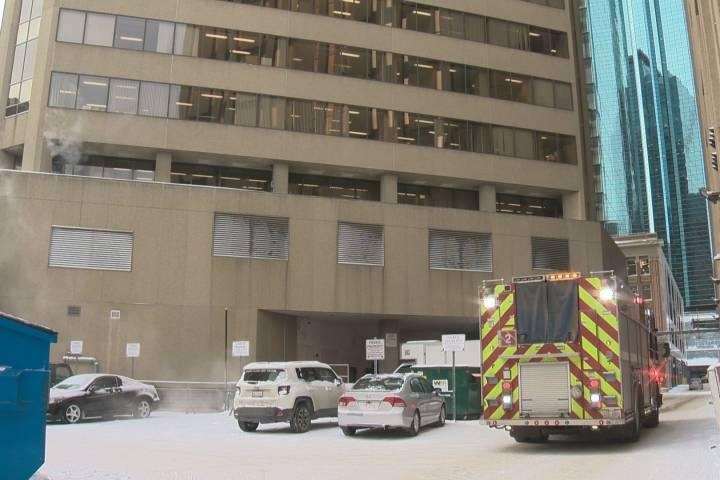 Downtown Edmonton building evacuated after vehicle hits sprinkler room
