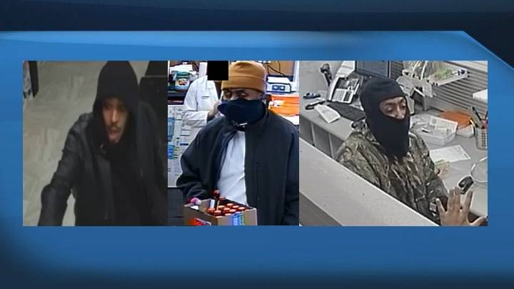 Edmonton police asking for help locating alleged pharmacy robbers