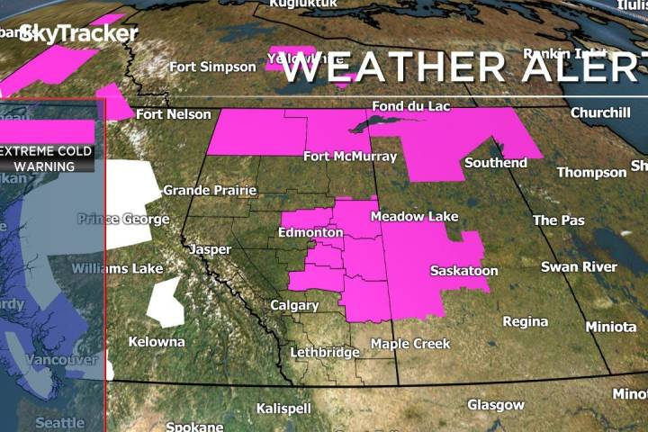 Extreme cold warnings in place for central, northern Alberta as wind chills dip to -40