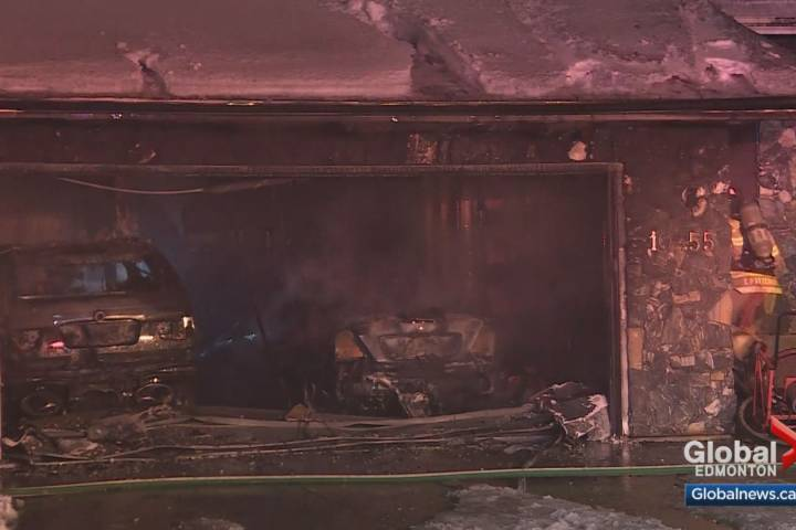Attached garage, vehicles damaged by fire in south Edmonton