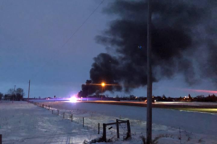 CP train derails near Guernsey, southeast of Saskatoon