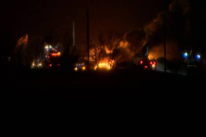 Oil cars continue to burn at site of Saskatchewan CP train derailment