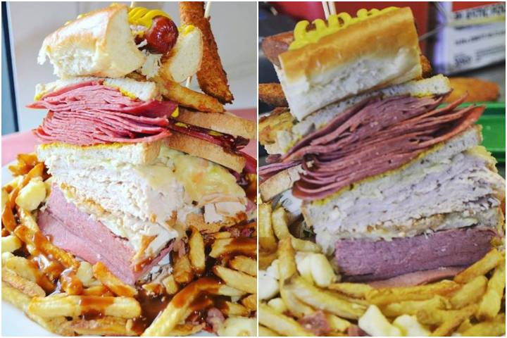 Calgary deli's towering meat sandwich is free if eaten fast enough