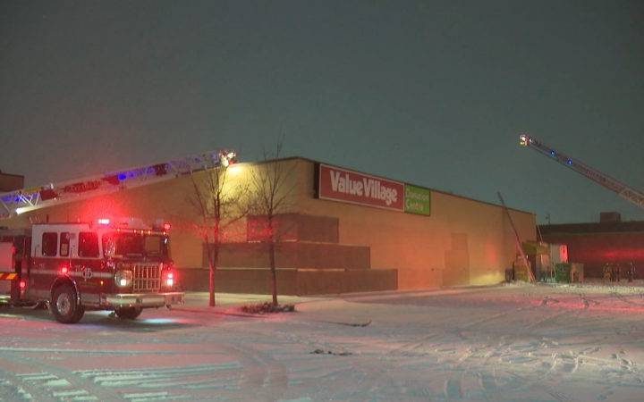 Calgary police arson investigators examine fire at Value Village