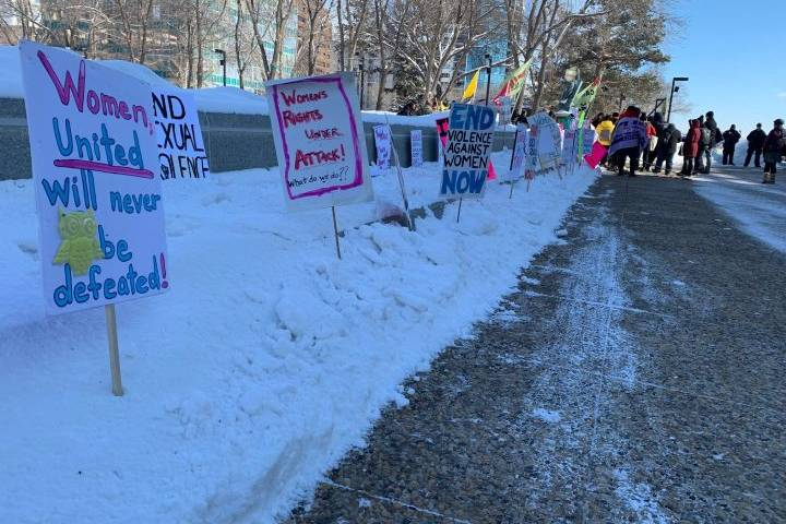 International Women's Day rally held at Alberta legislature
