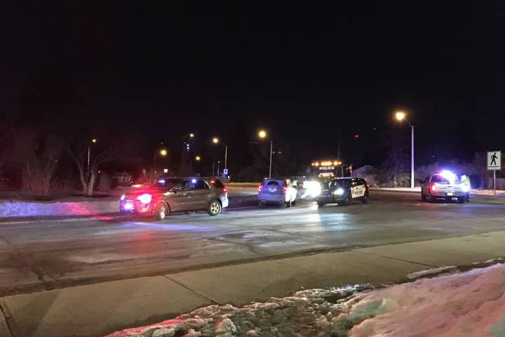Truck rollover in west Edmonton traffic circle sends 1 person to hospital