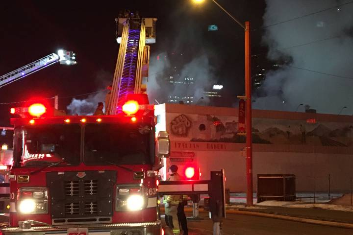 2 taken to hospital as crews battle central Edmonton fire
