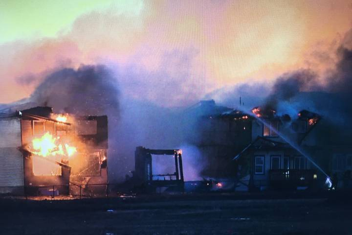 Fire tears through houses under construction in southwest Edmonton