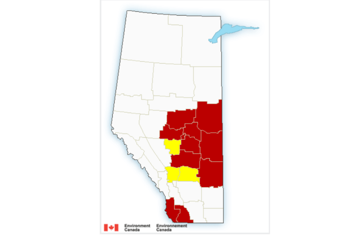Edmonton area, much of central and eastern Alberta under wind warnings on Sunday