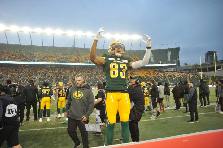 Eskimos receiver using gymnastic skill to show off some good flipping catches