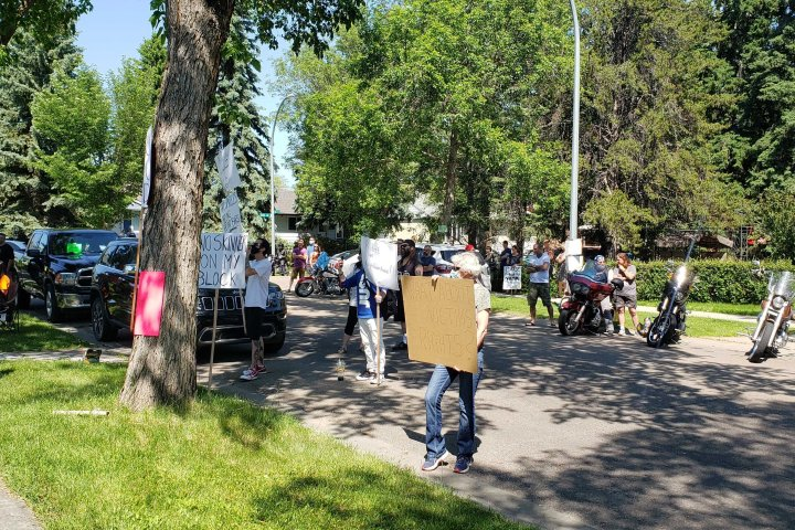 Group protests bail-release of Edmonton man charged with sexual assault