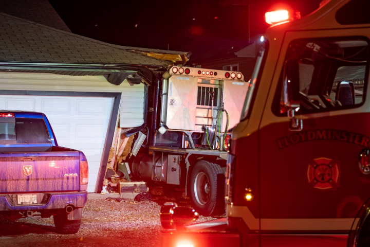 Man charged after crashing stolen semi truck into Lloydminster home