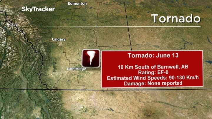 Tornado touched down near Barnwell, Alberta over weekend: Environment Canada