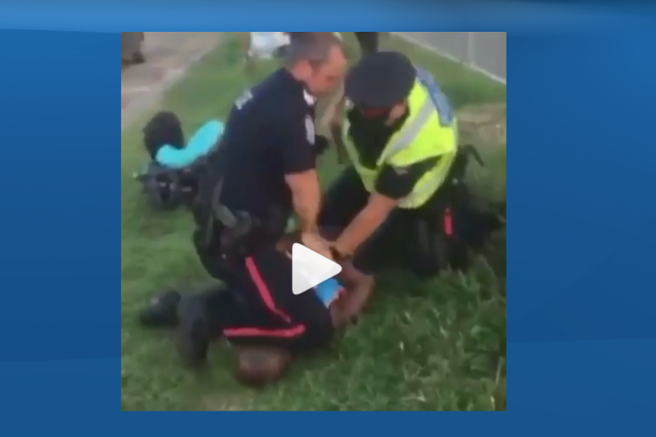 Video from 2018 shows Edmonton police officer using his knee on man's neck during arrest