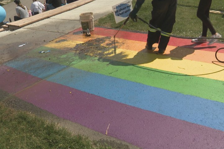 'We will not give up': Airdrie Pride sidewalk vandalized twice; RCMP looking for witnesses, suspects