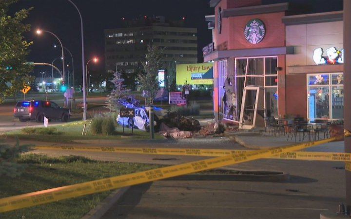 3 killed, driver missing after car crashes into Edmonton Starbucks