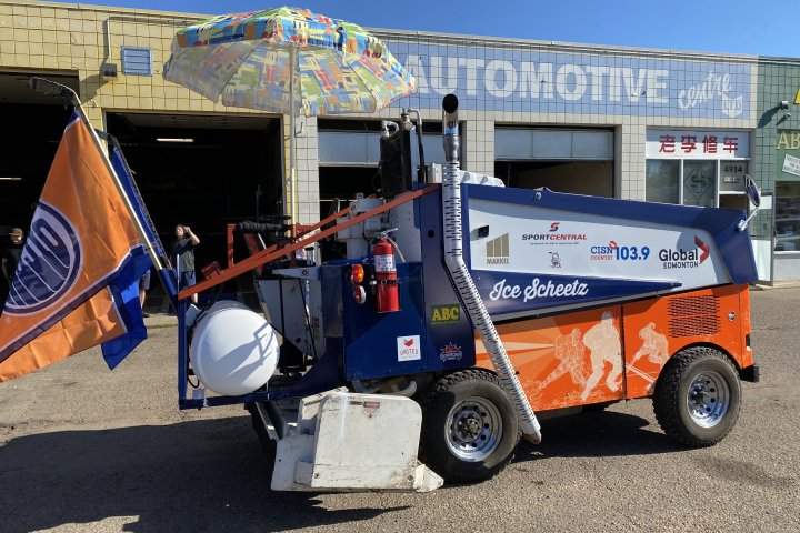 Radio personality drives Zamboni from Calgary to Edmonton for food bank