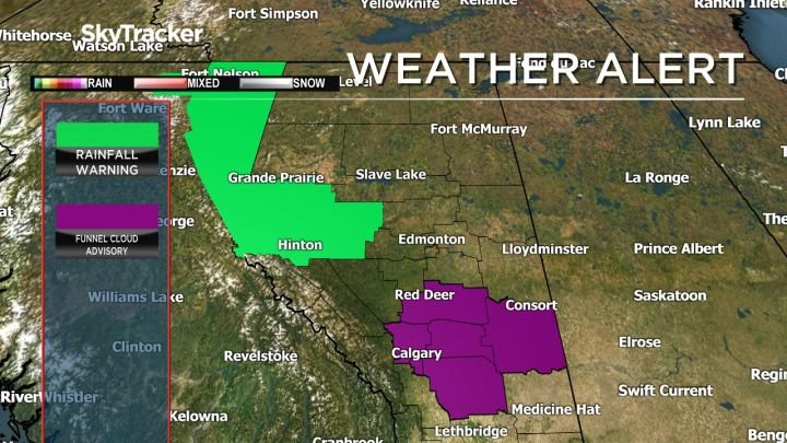 Rainfall warnings, flood watches in effect in parts of central, northern Alberta