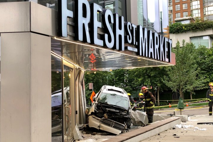 Van with Alberta licence plates crashes into downtown Vancouver store on Canada Day