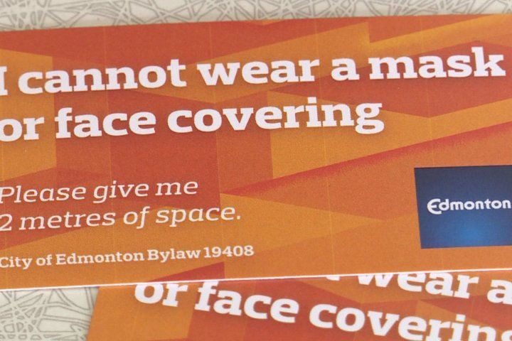 City of Edmonton offering mask bylaw exemption cards to those with conditions