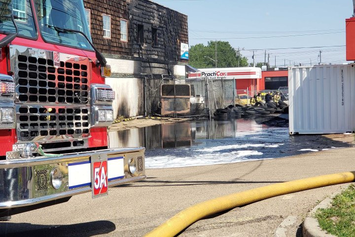 Crews respond to fire at Edmonton auto shop