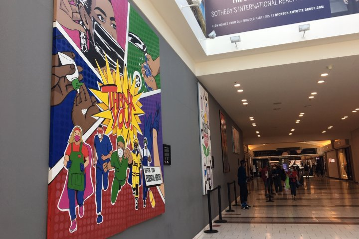 Edmonton shopping mall turns construction wall into art gallery to honour community heroes
